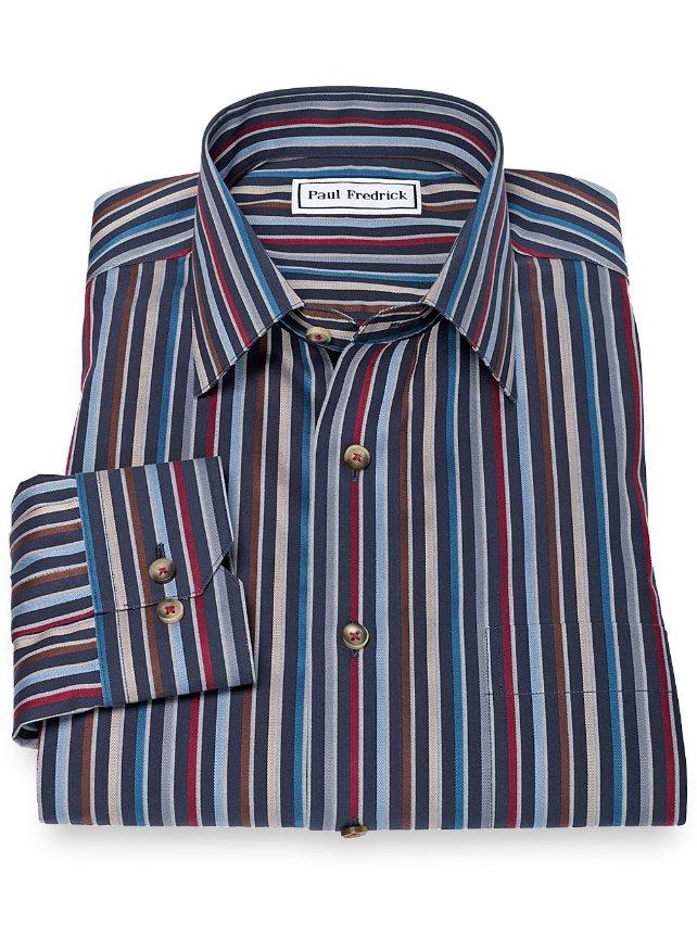 Slim Fit Non-Iron 100% Cotton Stripe Spread Collar Sport Shirt