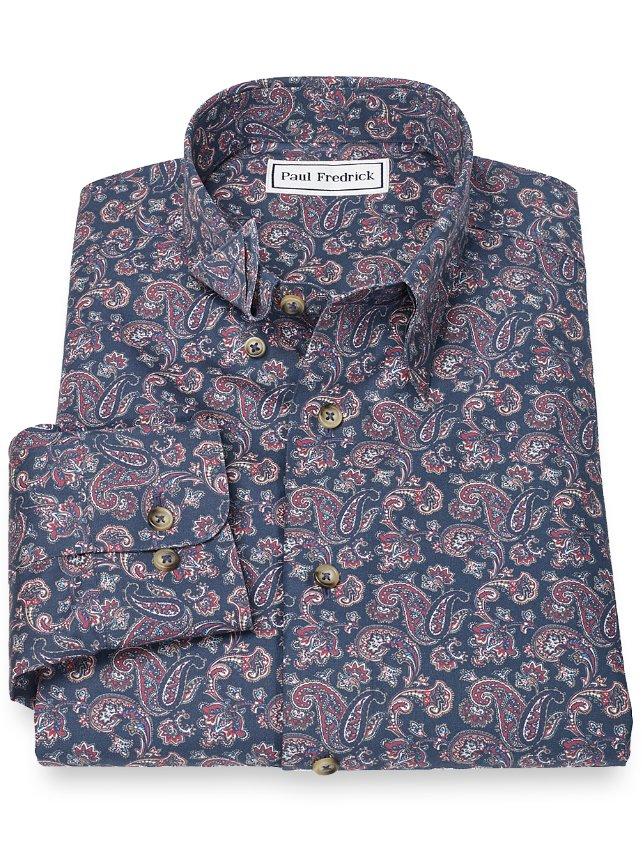 Non-Iron 100% Cotton Paisley Hidden Button Down Collar Sport Shirt