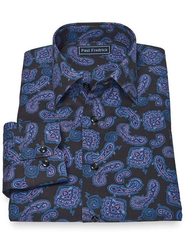 Slim Fit 100% Cotton Paisley Spread Collar Sport Shirt
