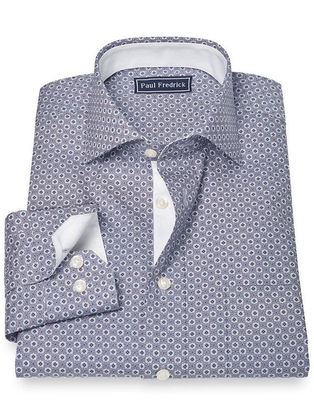 100% Cotton Medallion Print Cutaway Collar Sport Shirt