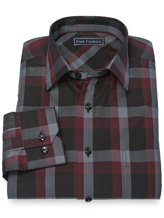 100% Cotton Plaid Spread Collar Sport Shirt