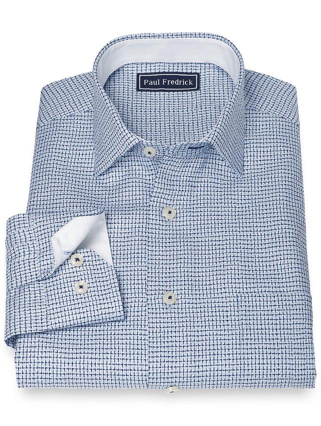 100% Cotton Print Jermyn Steet Collar Sport Shirt