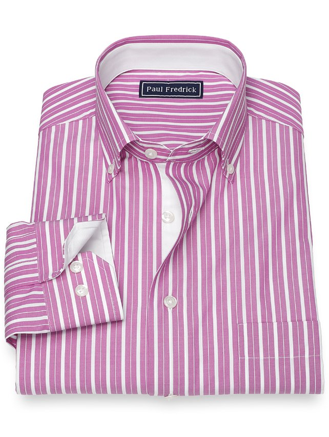 Slim Fit Cotton Stripe Sport Shirt