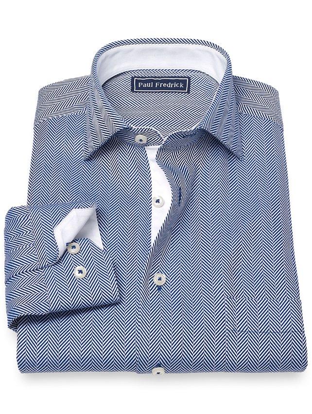 Slim Fit Cotton Stripe Sport Shirt