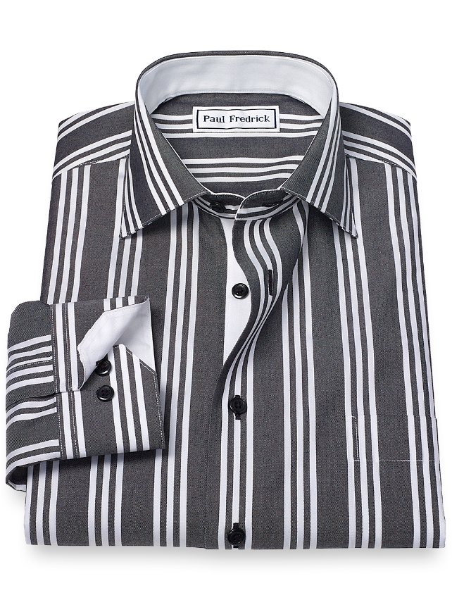 Slim Fit Non-Iron Cotton Stripe Sport Shirt
