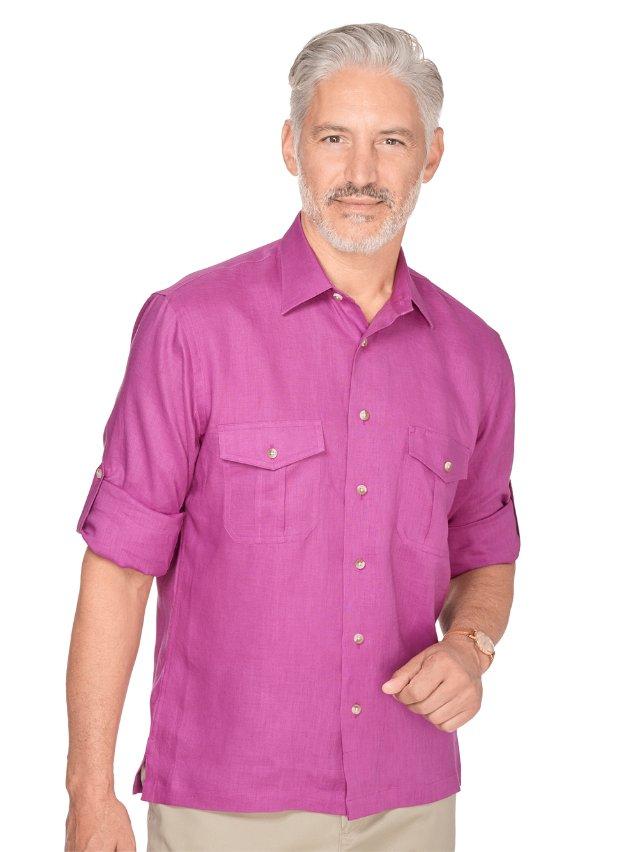Slim Fit Linen Straight Collar Sport Shirt
