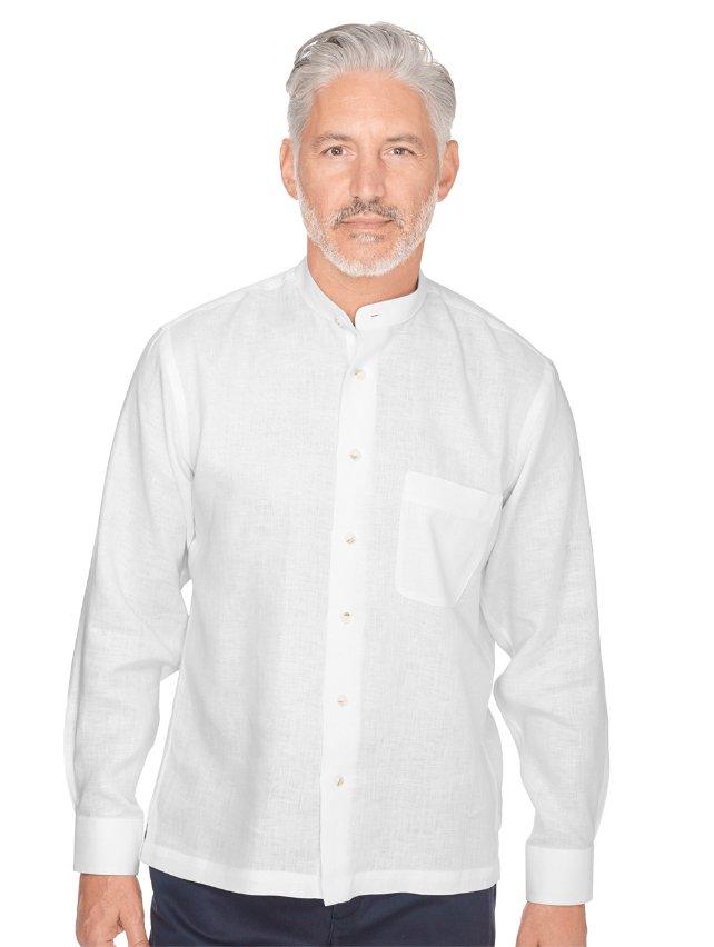 Slim Fit Linen Band Collar Sport Shirt