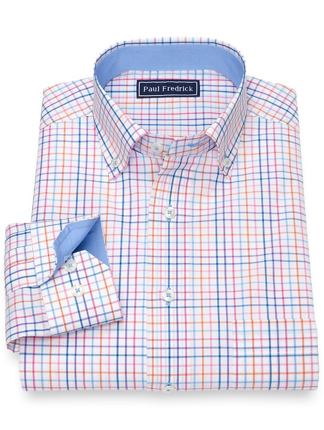 Slim Fit Cotton Grid Sport Shirt