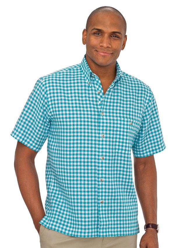 Slim Fit Linen Gingham Button Down Collar Sport Shirt