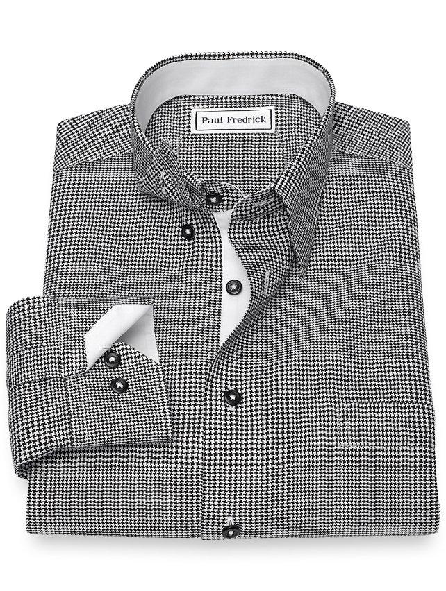 Non-Iron Cotton Houndstooth Sport Shirt
