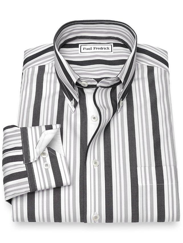 Non-Iron Cotton Stripe Sport Shirt
