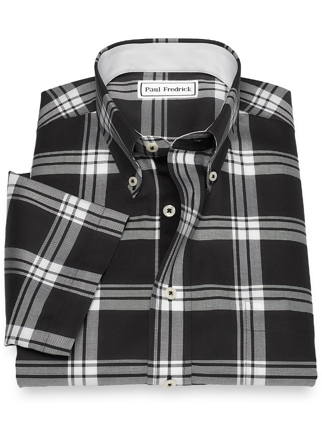 Non-Iron Cotton Plaid Sport Shirt