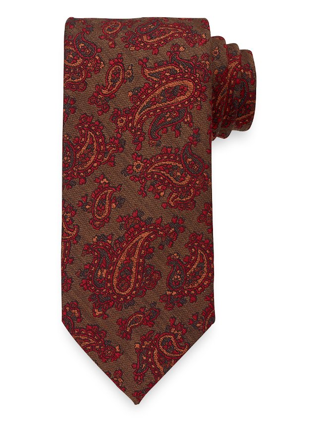 Paisley Woven Italian Wool and Cotton Blend Tie