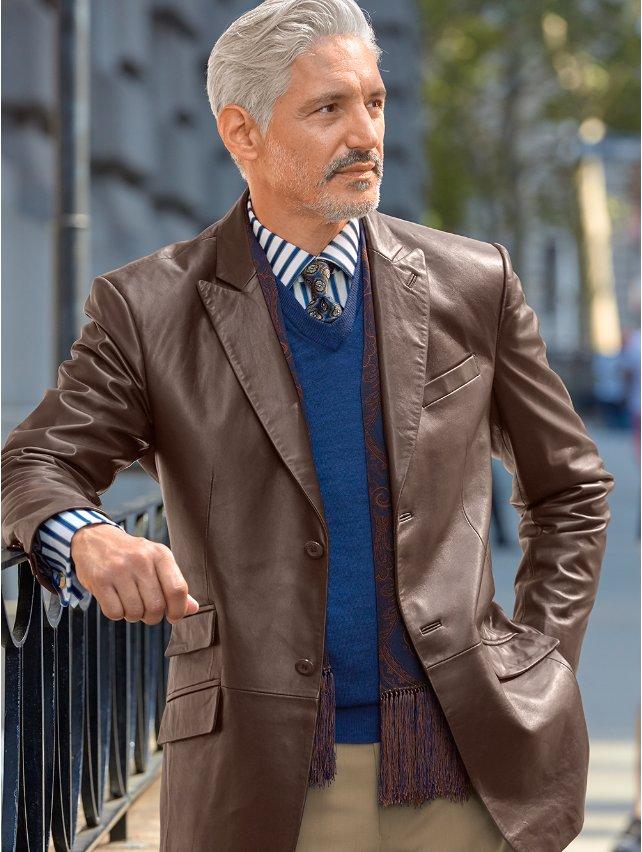 100% Lambskin Leather Two Button Peak Lapel Jacket
