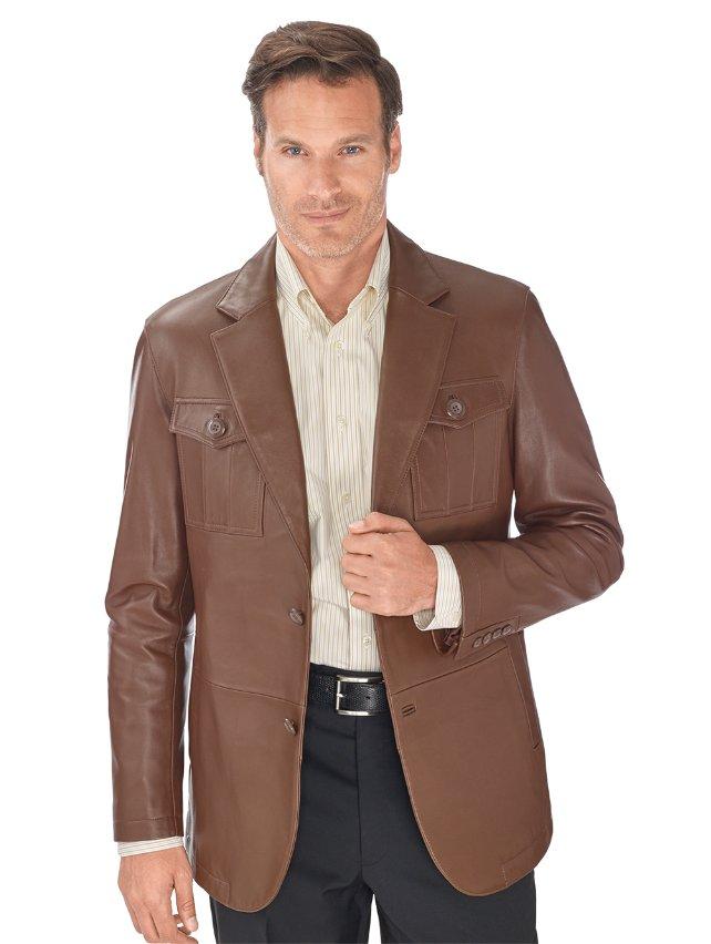 100% Lambskin Leather Two Button Notch Lapel Jacket