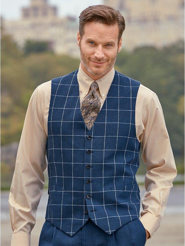 Dark Indigo Linen Windowpane Vest