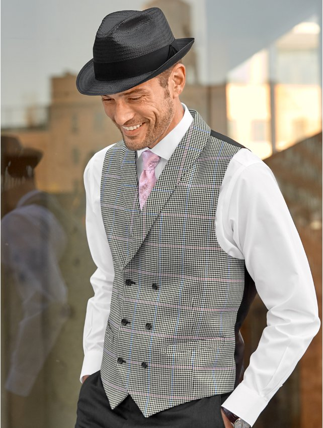 Black & White Wool and Silk Houndstooth Double Breasted Vest