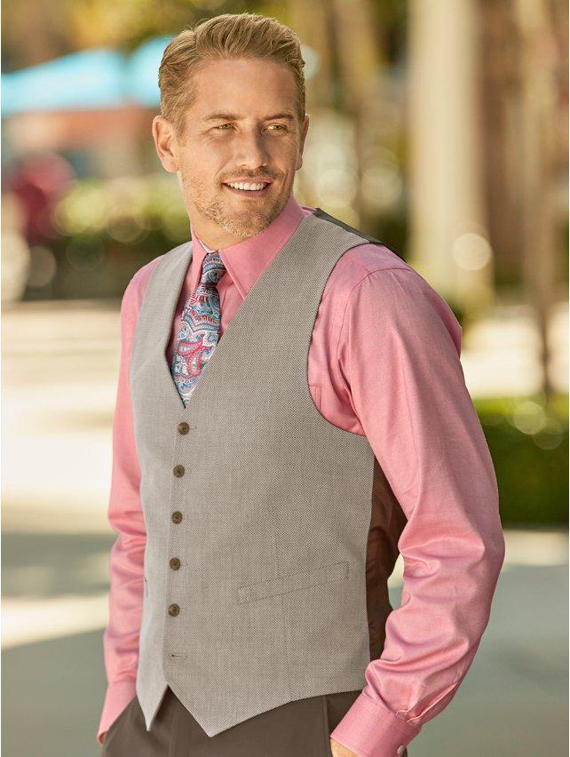 Wool and Cotton Six-button No Lapel Basketweave Vest