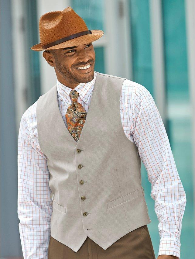 100% Cotton Six-button No Lapel Textured Vest