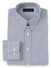 2-Ply Cotton Pinpoint Oxford Snap Tab Collar Dress Shirt