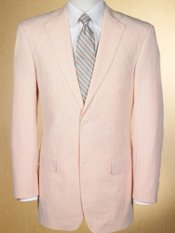 100% Cotton Seersucker Single Breasted Notch Lapel Suit Separates