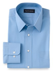 2-Ply Cotton Broadcloth Straight Collar Dress Shirt