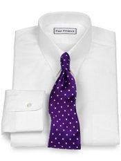 2-Ply Cotton Snap Tab Collar Dress Shirt