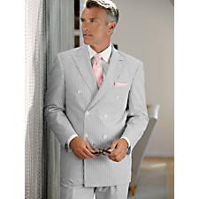 100% Cotton Seersucker Double-Breasted Peak Lapel Suit Separates