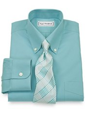 Non-Iron 2-ply 100% Cotton Pinpoint Button Down Collar Dress Shirt