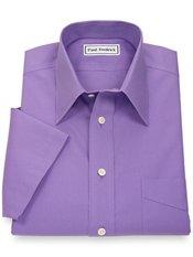 Non-Iron 2-Ply 100% Cotton Straight Collar Short Sleeve Dress Shirt