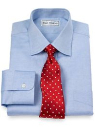 Pinpoint Oxford Varsity Spread Collar Button Cuff Dress Shirt