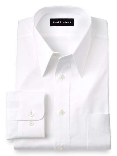 2 Ply Cotton Pinpoint Edge Stitched Straight Collar Dress: straight collar dress shirt