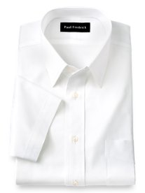 2-Ply Cotton Pinpoint Oxford Straight Collar Short Sleeve Dress Shirt