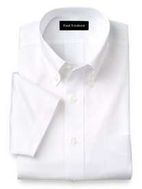 Slim Fit 2-Ply Cotton Pinpoint Button Down Collar Short Sleeve Dress Shirt