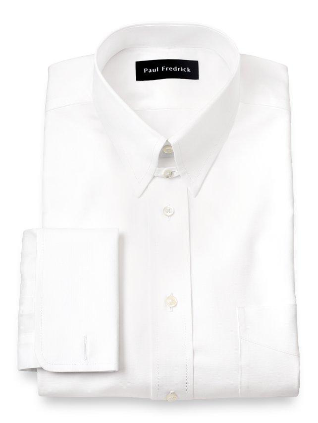Egyptian cotton button tab collar french cuff dress shirt for Pin collar shirt double cuff