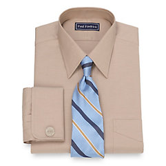 2-Ply Cotton Pinpoint Oxford Straight Collar French Cuff Dress Shirt $20.00 AT vintagedancer.com