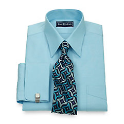 2-Ply Cotton Pinpoint Oxford Straight Collar French Cuff Dress Shirt $30.00 AT vintagedancer.com