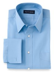 2-Ply Cotton Straight Collar French Cuff Dress Shirt