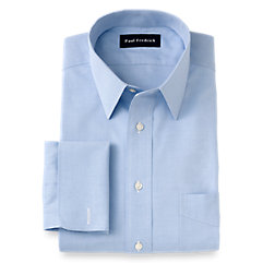 Non-Iron 2-ply 100 Cotton Pinpoint Straight Collar French Cuff Dress Shirt $90.00 AT vintagedancer.com
