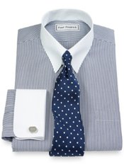 Non-Iron Pinpoint Oxford Snap Tab Collar French Cuff Dress Shirt