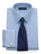 Non-Iron 2-ply 100% Cotton Broadcloth Straight Collar French Cuff Dress Shirt