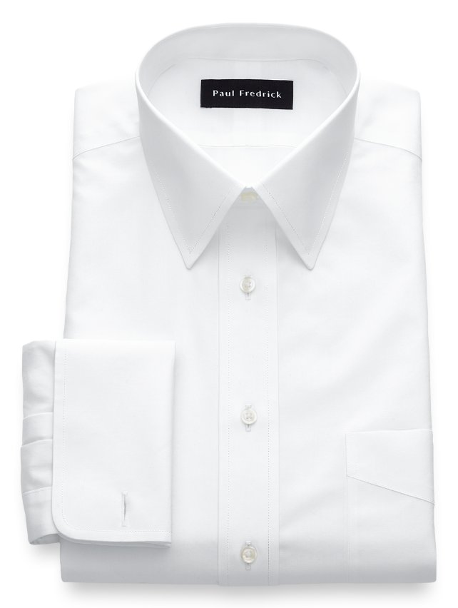 Non iron cotton broadcloth straight collar french cuff Straight collar dress shirt