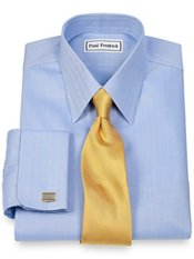 Non-Iron 2-Ply 100% Cotton Herringbone Straight Collar French Cuff Dress Shirt