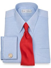 2-Ply Cotton Pinpoint Edge-Stitched Straight Collar French Cuff Dress Shirt