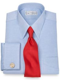 Pinpoint Oxford European Straight Collar French Cuff Dress Shirt