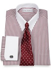 Luxury Cotton Bengal Stripe Tab Collar French Cuff Dress Shirt