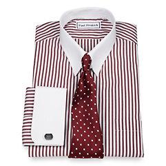 Luxury 140s Cotton Bengal Stripe Tab Collar French Cuff Dress Shirt $30.00 AT vintagedancer.com