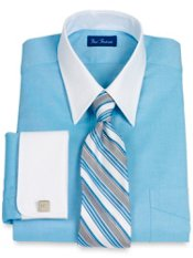 Cotton Pinpoint Oxford Straight Collar French Cuff Dress Shirt