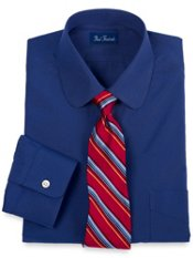2-Ply Cotton Club Collar Trim Fit Dress Shirt