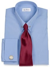 2-ply CottonEyelet Collar French Cuff Trim Fit Dress Shirt